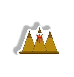 Sticker of volcano explosion vector