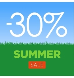 Summer Sale Banner with green grass and blue sky vector image