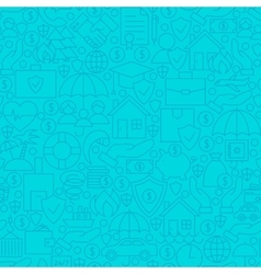 Thin Line Blue Insurance Seamless Pattern vector image