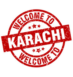 Welcome to karachi red stamp vector