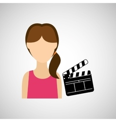 woman cartoon clapper movie design vector image