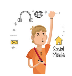Young man mobile phone social media icons vector