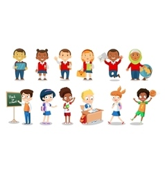 Set of cheerful school children flat icons vector