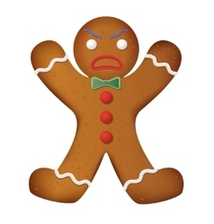 Gingerbread man decorated Funny and angry vector image