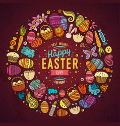 Set of easter cartoon doodle objects vector