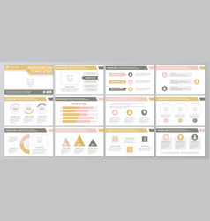 set of yellow and brown elements for multipurpose vector image