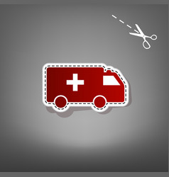 Ambulance sign   red icon with vector