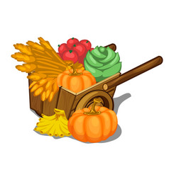 Wooden cart filled with ripe vegetables vector