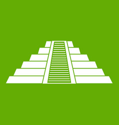 ziggurat in chichen itza icon green vector image