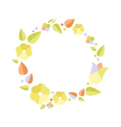 Beautiful greeting card with floral wreath bright vector