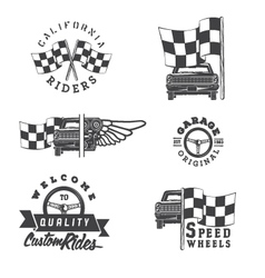 Set of vintage auto rides labels vector