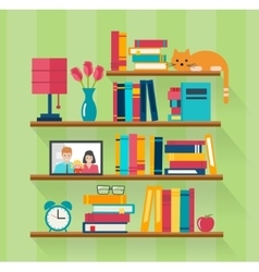 Bookshelves with books in room interior vector