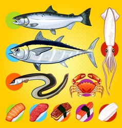 Japanese sushi fishes sashimi vector