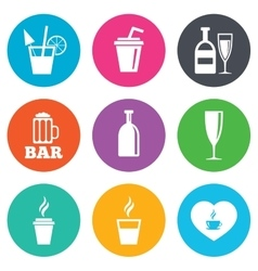 Beer coffee and tea icons alcohol drinks vector