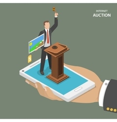Internet auction isometric flat concept vector