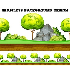 Seamless background design with tree and lawn vector