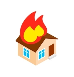 House on fire isometric 3d icon vector