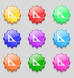 Ruler icon sign symbol on nine wavy colourful vector