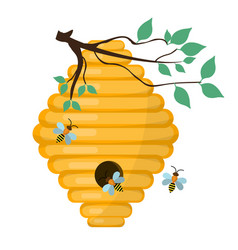 Bee-hive swarm icon flat style isolated on vector