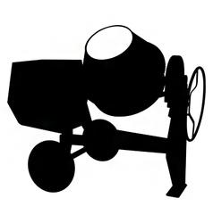 Cement mixer silhouette vector