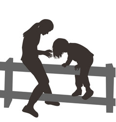 children climbing a wooden fence vector image vector image