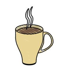 Color crayon stripe cartoon crockery modern cup of vector