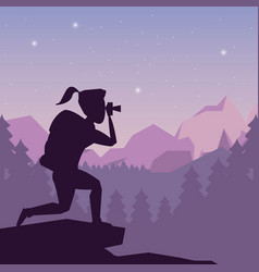 Color night landscape silhouette of hiking woman vector