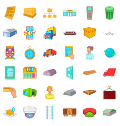 delivery icons set cartoon style vector image