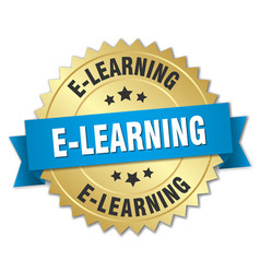 E-learning 3d gold badge with blue ribbon vector