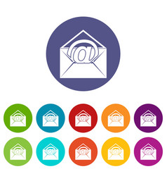 Envelope with email sign icons set flat vector