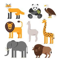flat style set of animals vector image vector image