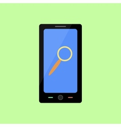 Flat style smart phone with magnifying glass vector image