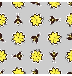 Flowers And Bees vector image