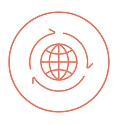 Globe with arrows line icon vector