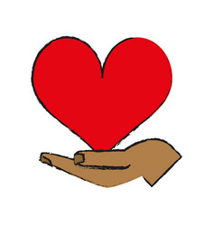 hand and cartoon heart icon image vector image vector image