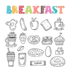 Hand drawn breakfast set Collection of various vector image vector image