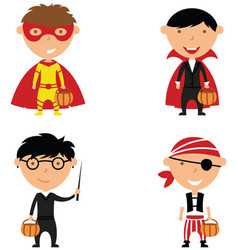 happy boys in halloween costumes vector image vector image