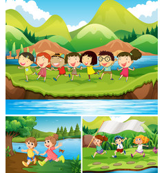 happy children playing in the park vector image