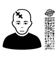 Head Hurt Flat Icon With Bonus vector image