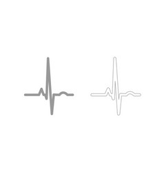 Heart rhythm ekg grey set icon vector