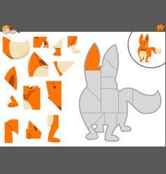 Jigsaw puzzle game with fox vector