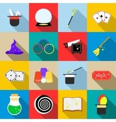 Magic icons set flat style vector image