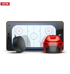 Mobile phone with ice hockey helmet puck and field vector