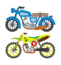 motorcycle motorbike flat icons set vector image
