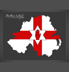 northern ireland map with ulster banner flag vector image