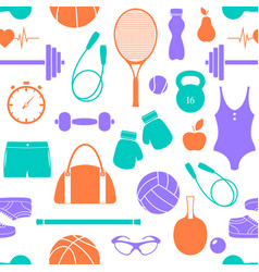 pattern with fitness equipment vector image vector image