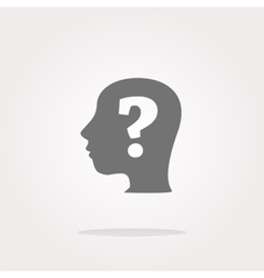 question mark on human head icon question vector image