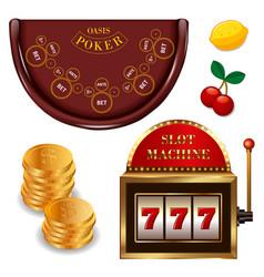 realistic casino online games set vector image vector image