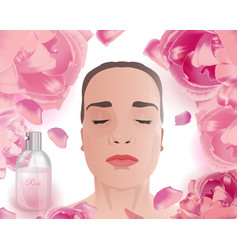 Rose water face pack vector