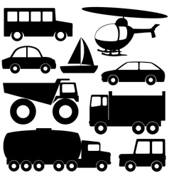 Set 2 of different transport silhouettes vector image vector image